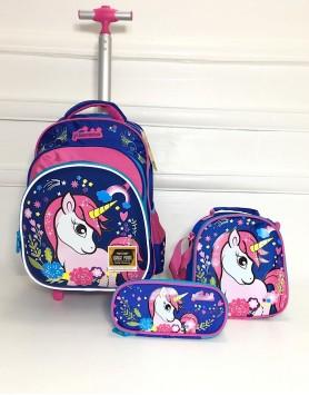 Jaz Unicorn Trolley Backpack Set